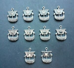 10 x Viking Ship Longboat Norse Charms, 26 x 21 mm, Keyring Jewellery Charms