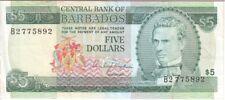 BARBADOS BANKNOTE P. 31-5893, 5 DOLLARS PREFIX B2, F-VF WE COMBINE