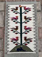 "23""x40"" Zapotec Oaxacan Hand Woven Birds Decor Wall Hanging Wool Tapestry Rug"