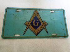 """Vintage Pale Blue Masonic Freemasonry License Plate """"G"""" Logo Car Tag"""