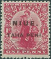 Niue 1917 SG21 TAHA PENI on 1d carmine Dominion brown ovpt MLH