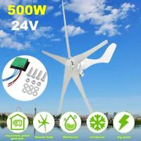 24V 500W 5 Blades Wind Turbine Generator Horizontal Charge Controller Home Power