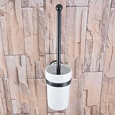 Oil Rubbed Bronze Wall Mounted Toilet Brush set With Ceramic Cup Holder Zba762