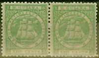 British Guiana 1863 24c Yellow Green SG78 P.12 Superb MNH & MM Pair Very Fres...