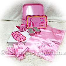 COCOMOTION PRINCESS 20pc KIDS CHILDRENS TIN TEA SET IN PINK CARRY CASE 29cm *NEW