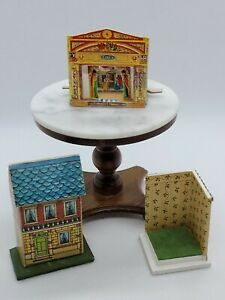 DOLLHOUSE MINIATURE LOT OF 3 SMALL SCALE TOYS HOUSE, THEATER, AND DISPLAY