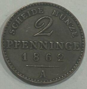 1862 A German States Kingdom of Prussia 3 Pfennig Wilhelm I Coin