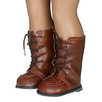 Dark Brown PU Boot Shoes for 18inch American Kids Dolls Party