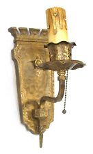 ANTIQUE WALL SCONCE ART CASTLE BRASS GOTHIC CANDLESTICKS CANDLE STICKS ELECTRIC