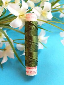 318B / Beautiful Coil Old Pure Thread Silk Drawstring Gutermann Green Spinach N°