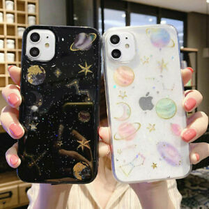 Case for iPhone 11 Pro Max XR XS Max 7 8 Plus 6s Glitter Planet Soft Case Cover