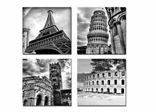 4 Pictures Print Black White Photo, Canvas Paris Italy Modern Wall Art FRAMED