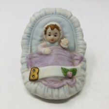 Enesco Brunette Growing Up Birthday Girls Baby in Cradle Porcelain Figurine C1
