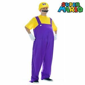 Super Mario Brothers Wario Nintendo Video Game Halloween Men Fancy Dress Costume