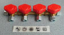 Gas Verteilerblock Gasventil 4 Abgänge für 8mm Rohr, Gashahn Ventil 70132Lg NEU