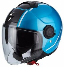CASCO HELMET MOTO JET SCORPION EXO CITY AVENUE SKY BLU NERO METALLIC TG M