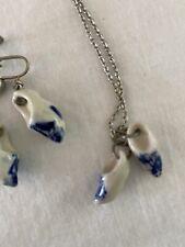 Vintage Blue Delft Dutch Shoes Necklace & Screw-back Earrings Holland Porcelain