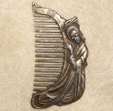Vieux & Ancienne Argent Beauté & Harpe forme Peigne