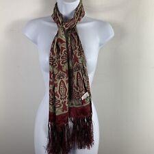 Vintage Echo Womens Rectangle Fringe TScarf Cranberry Red Tan Damask Silk LK39