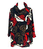ALI MILES $79 NWT Red+Black ART TO WEAR Shrug Jacket Top, Ladies, Large, Floral