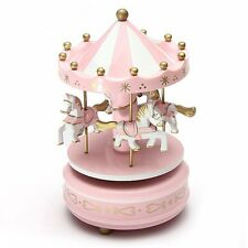 Home Decoration Wind Up Horse Fairground Roundabout Carousel Musical Box Pink