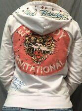 SPECIAL ED HARDY Designer Hoodie Sweatshirt Pink/Red Tiger Patch