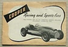 COOPER RACING AND SPORTS CARS Sales Brochure 1952-53 BRISTOL F2 500 Mk VII +