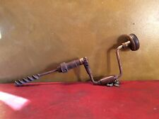 Vintage Antique Hand Crank Metal and Wood Manual Drill Screw Driver