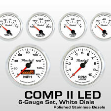 C2 6 Gauge Set, White Dials, Stainless Bezels, 73-10 Ohm Fuel Level, 2268SS