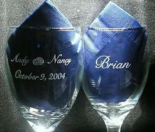 Personalized Toasting Glasses 2 Classic Goblets Wedding Party Reception w/ Names