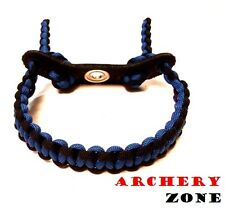 Black and Blue  Bow Paracord Wrist Sling Strap Archery W/ Leather