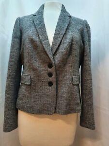Ladies Hobbs London Grey Tweed Wool Blend Three Button Blazer UK Size 16.