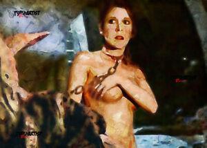 ACEO ATC Sketch Card - Star Wars Princess Leia Organa Slave topless