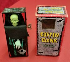 VINTAGE SKELETON COFFIN COIN BANK WIND-UP TOY WITH BOX ☆ WORKING ☆ MAKE OFFER ☆
