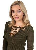 Womens Ladies Lace Up Tie Front V Neck Long Sleeved Ribbed Cropped Jumper Top