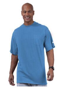 Champion Mens Authetic Athleticwear cotton pocket tee shirt XLT blue