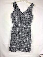 139531194e Gap Womens Mini Dress Sz 6 Tall Black   White Floral V-Neck Linen Sleeveless