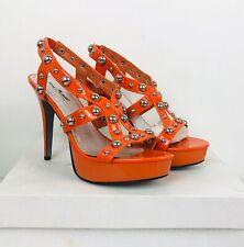 Anne Michelle Essence Strappy Orange Patent Faux Leather Size 8 Platform Heels