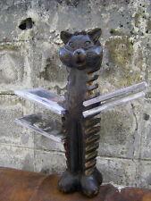 Fancy Hand Carved Wooden Cat Pedestal CD DVD Rack Stand Holder  Old Vintage