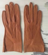 VINTAGE LEATHER GLOVES - 50s-60s, Light Brown Tan, Table Cut, Womens Sz 6.5