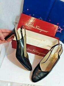 "Salvatore Ferragamo Black SlingBack 3"" heel Size 9.5 B Fashion original shoe box"