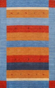 Striped Color-full Tribal Striped Gabbeh Oriental Area Rug Hand-Knotted Wool 6x8