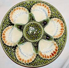 Mint Antique French Majolica oysters plate Longchamp shells