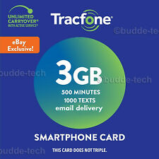 TracFone Smartphone Plan 3GB DATA 500 Minutes 1000 Texts Email Delivery Fast USA