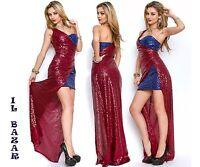 vestito donna abito lungo sera paillettes spacco laterale taglie: 40,42,44,46