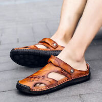 Men's Hand Stitching Shoes Closed Toe Comfy Soft Leather Summer Sandals Large