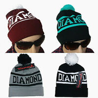 Hip-hop Ball beanie Cap Winter Women Men Diamond Knit Warm Crochet Slouch Style