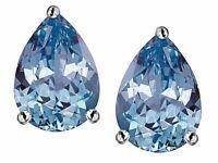 2 ct. Pear Shape Aquamarine Stud Earrings in Sterling Silver ~ MARCH BIRTHSTONE