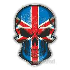 2 x UNION JACK SKULL VINYL PRINTED STICKERS CAR BIKE HELMET LAPTOP 100mm x 70mm