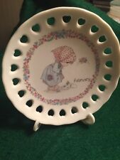"""Precious Moments 4"""" Plate & Stand Amethyst Color Of Faith 1994"""